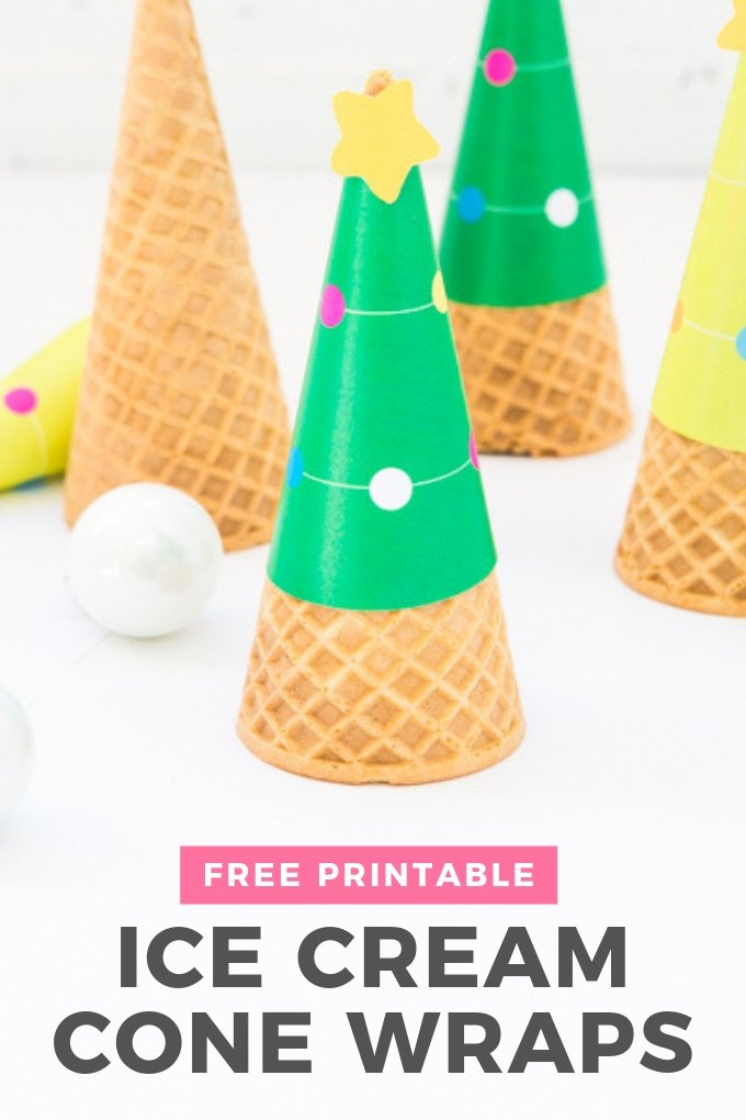 Printable Christmas Tree Ice Cream Cone Wrappers