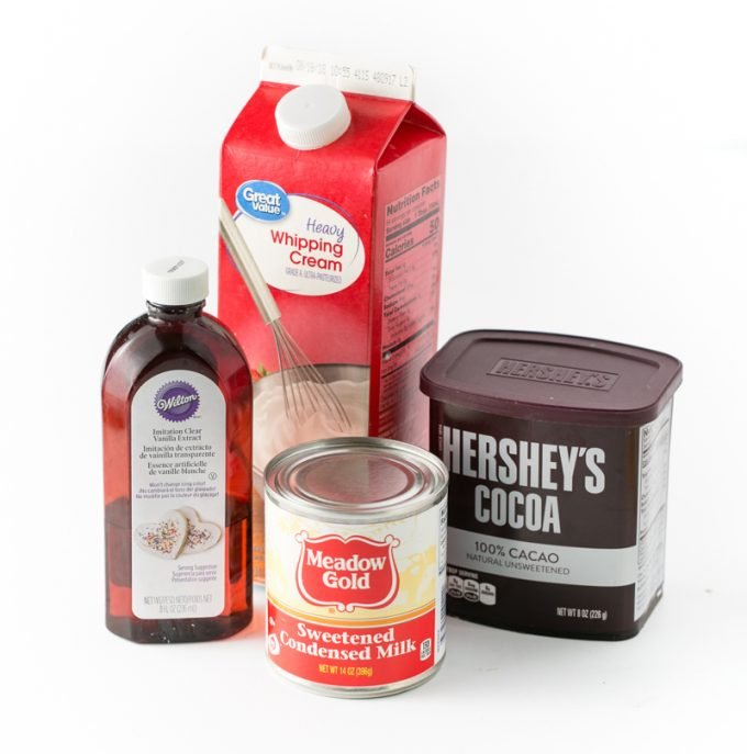 Ingredient for chocolate no-churn ice cream. Heavy Whipping Cream, Sweetened Condensed Milk, Vanilla, Hersheys Chocolate