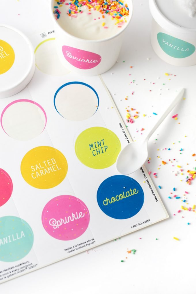 Colorful printable ice cream labels on Avery sticker paper