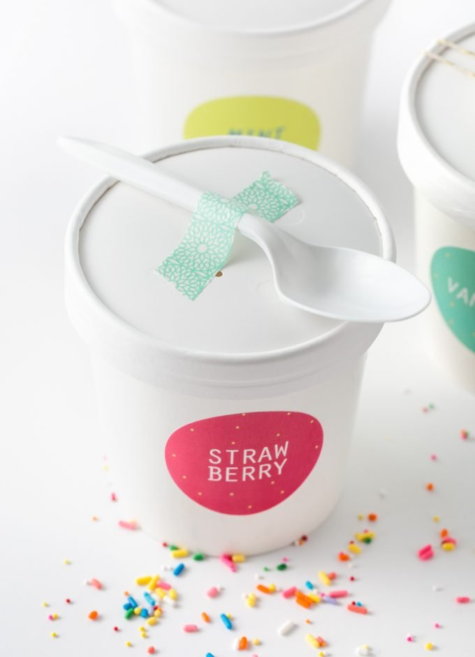 How to gift ice cream containers - printable ice cream labels with spoon