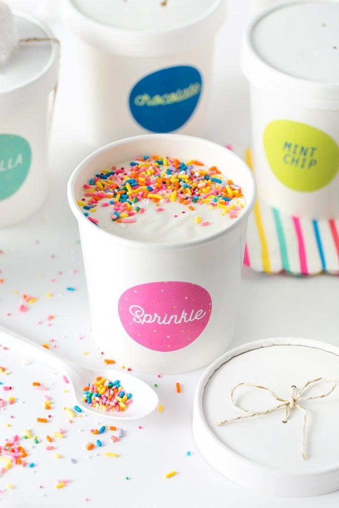 Pink Sprinkle Printable Ice Cream Labels