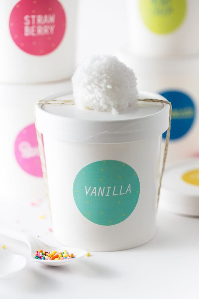 How to gift ice cream containers - printable ice cream labels