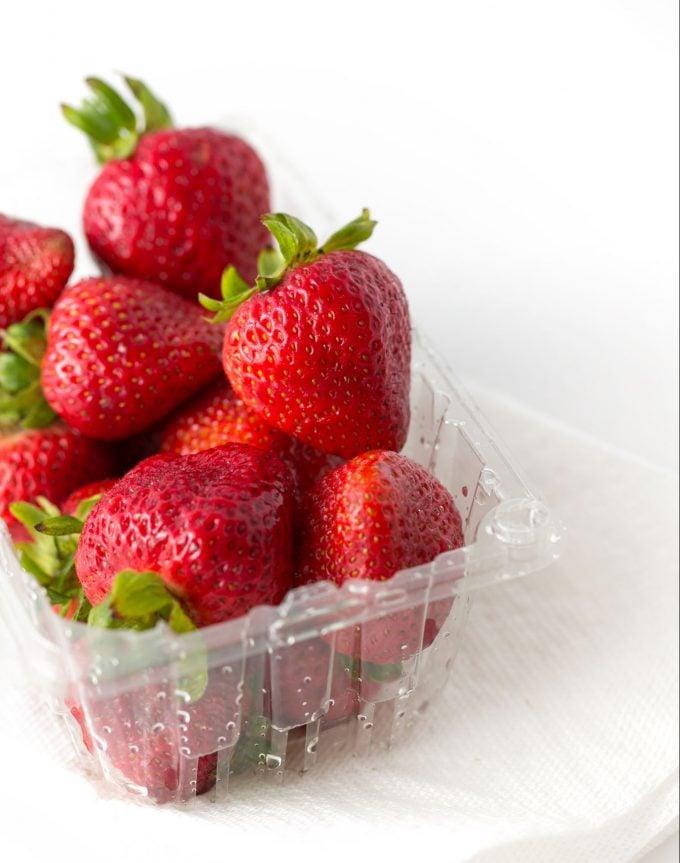Fresh strawberries in carton
