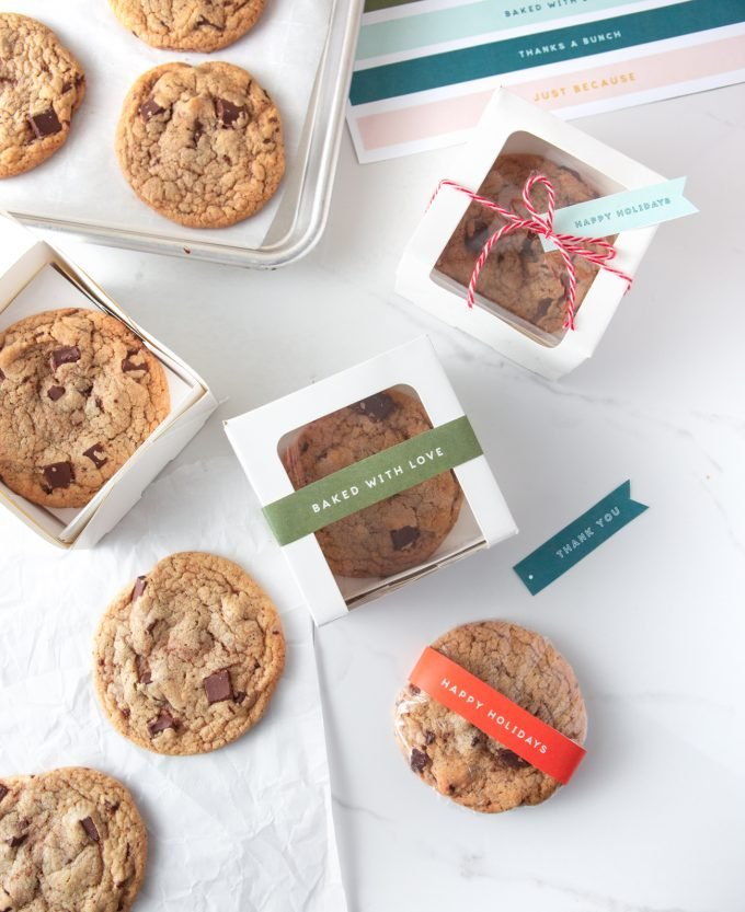 Gift Boxes for Copycat Panera Chocolate Chip Cookies