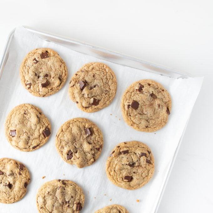 Copycat Panera Chocolate Chip Cookies on Baking Tray