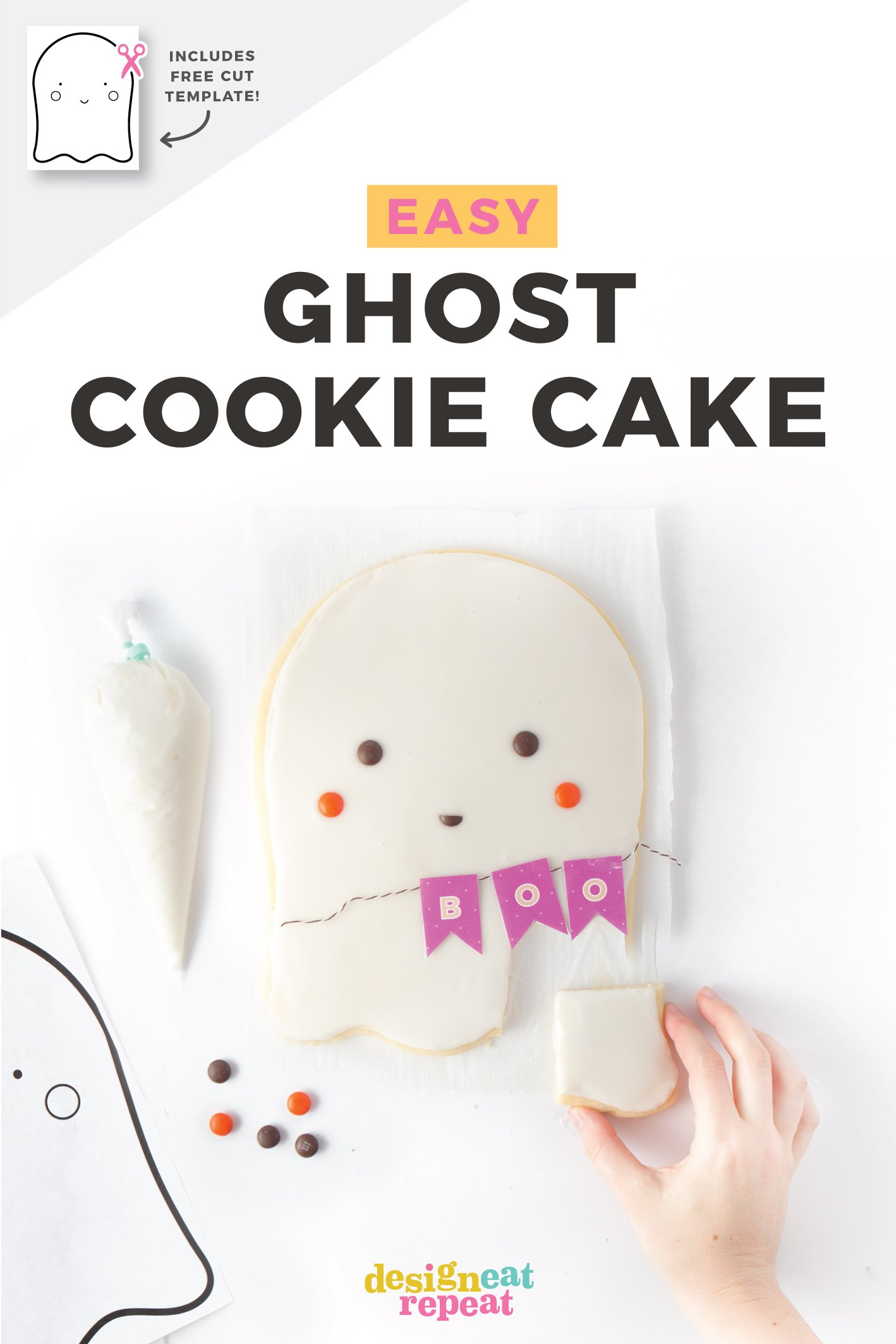 Easy Ghost Cookie Cake