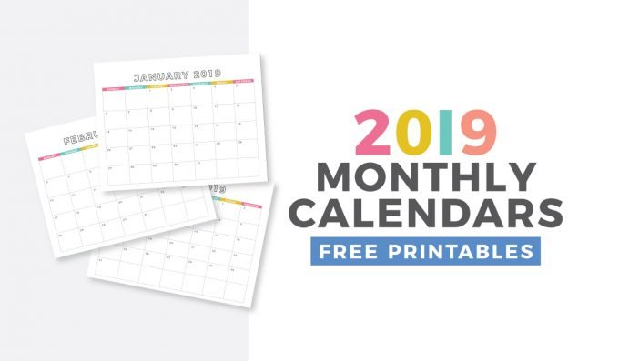 free monthly calendar printable for 2019