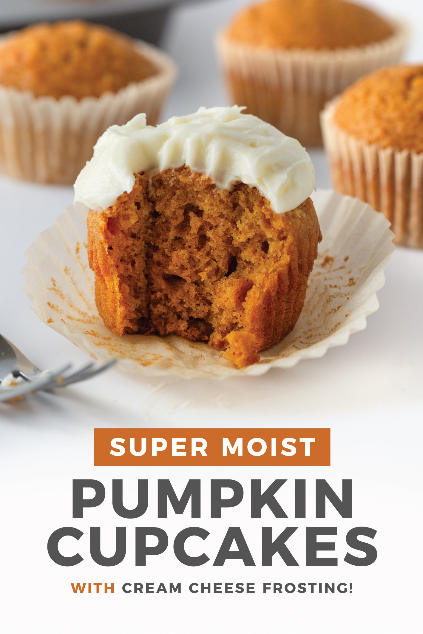 A super moist, melt-in-your-mouth EASY pumpkin cupcake topped with a 3-ingredient cream cheese frosting! Perfect Fall treats or Thanksgiving desserts. #pumpkin #thanksgiving #falltreats #falldesserts