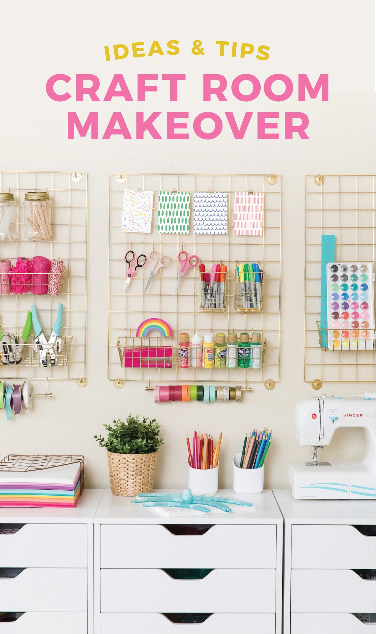 My new craft room makeover is finally finished! Going over craft room storage, organization, and decor ideas to help create an inspiring, crafty space! #craftroom #craft #office #storage #organization