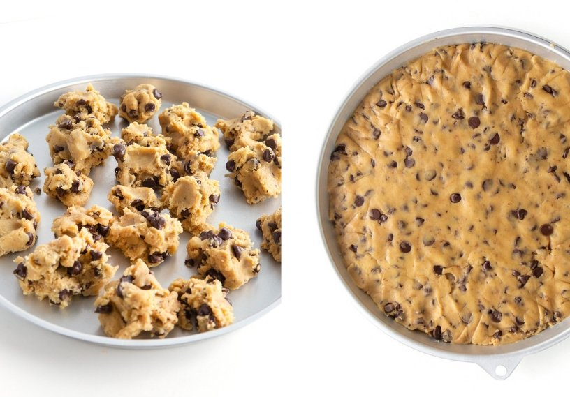 Chocolate chip cookie dough in 12 inch round cookie cake pan
