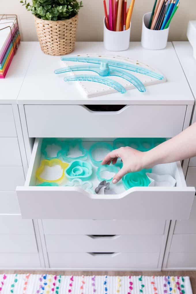 Drawer of cookie cutter storage