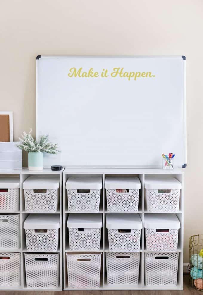 White Board with white woven plastic storage bins