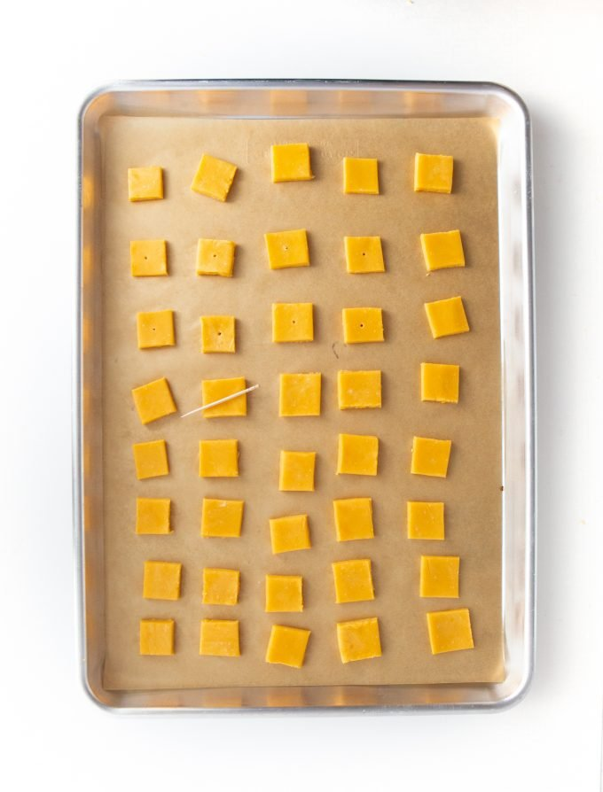 Tray of cheddar cheese crackers unbaked
