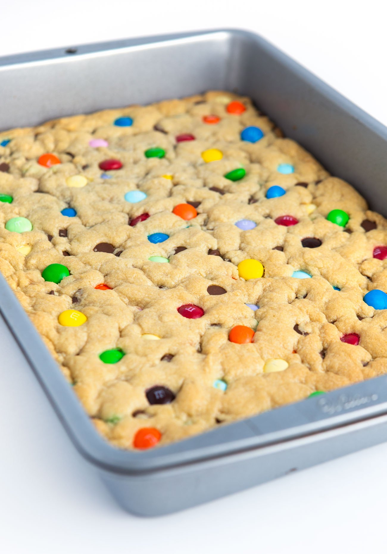 9x13 pan of Chewy M&M Cookie bars