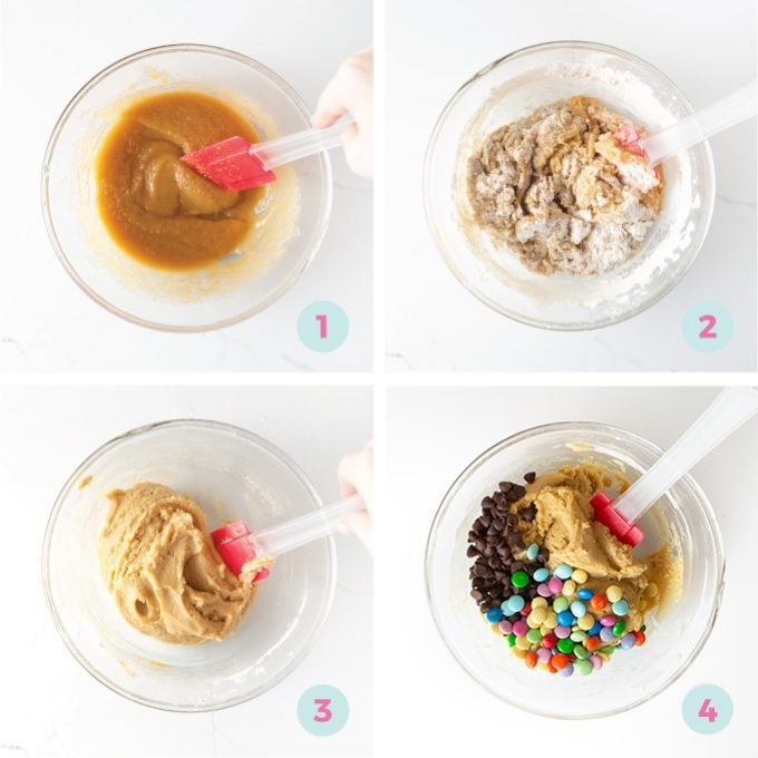 Step by step instructions for mixing M&M cookie cake dough