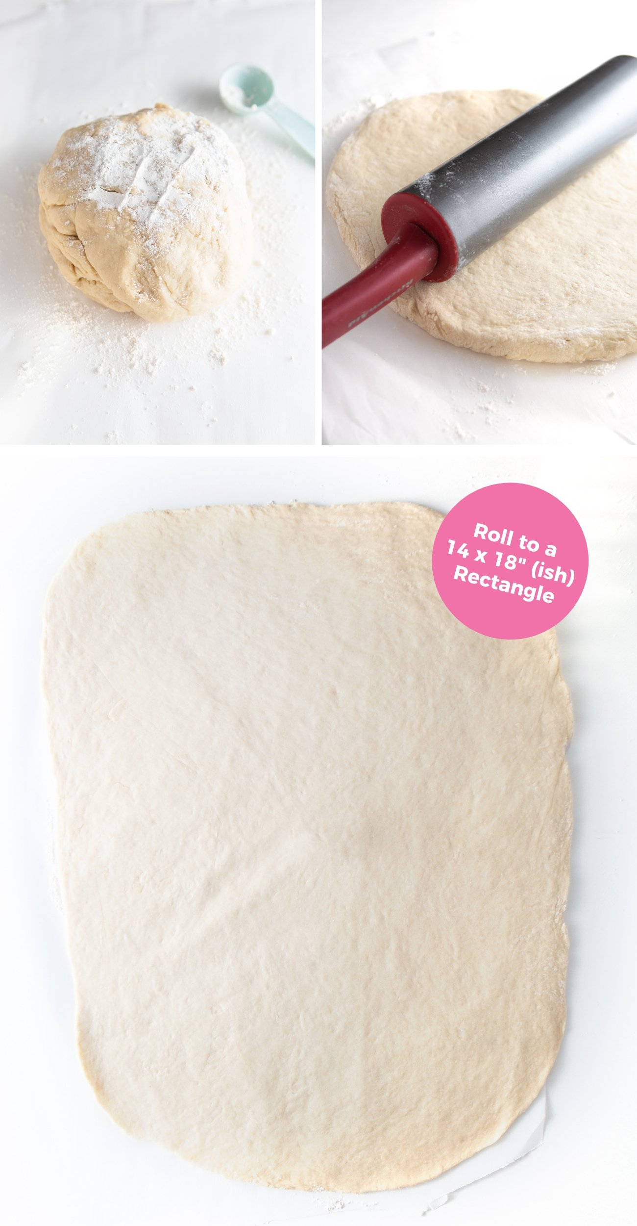 How to roll cinnamon roll dough into 14x18 rectangle sheet with rolling pin