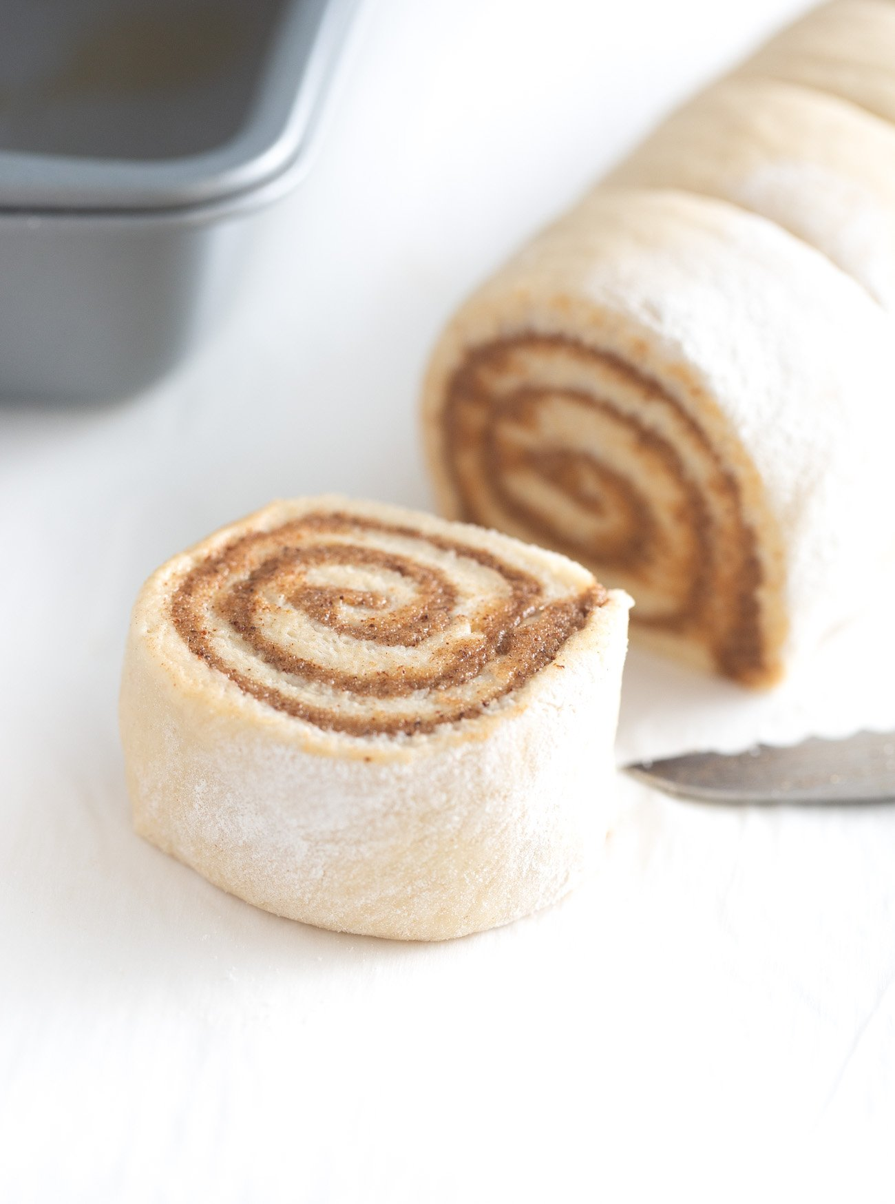 Cut cinnamon roll swirl