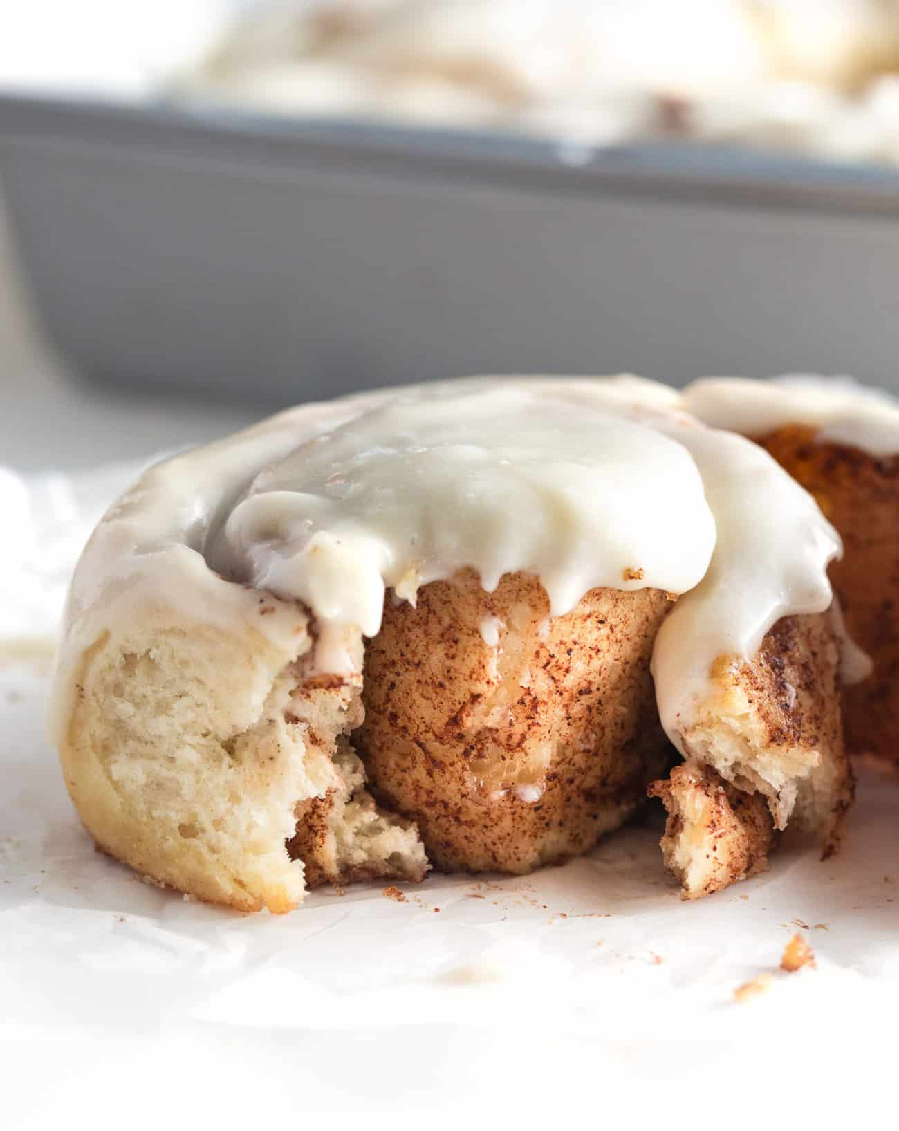inside texture of moist and soft easy one hour cinnamon rolls,