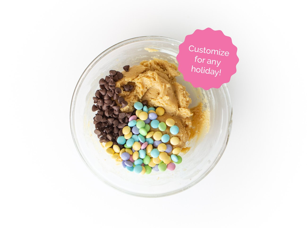 Bowl of chocolate chip cookie dough with easter M&m's