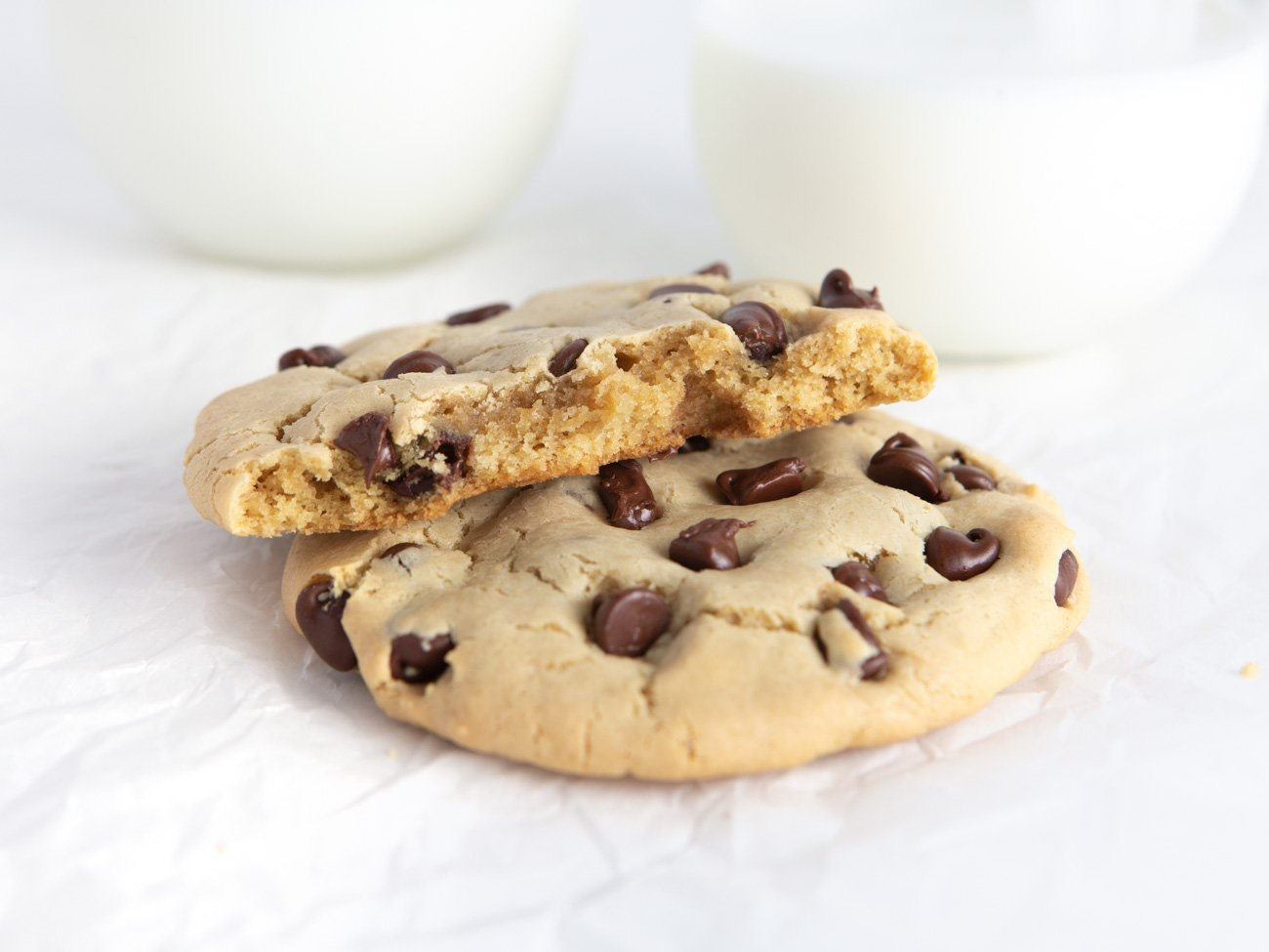 Inside soft texture of Chocolate Chip Cookies for Two