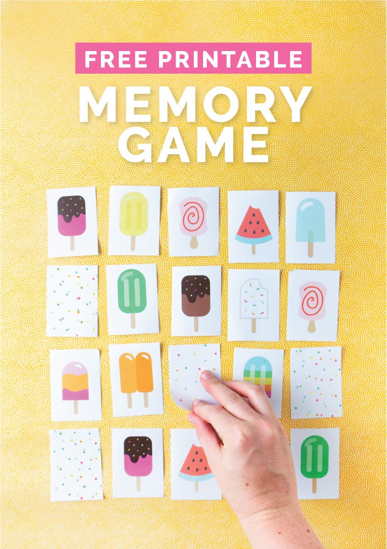 Popsicle printable memory game with hand flipping over card.
