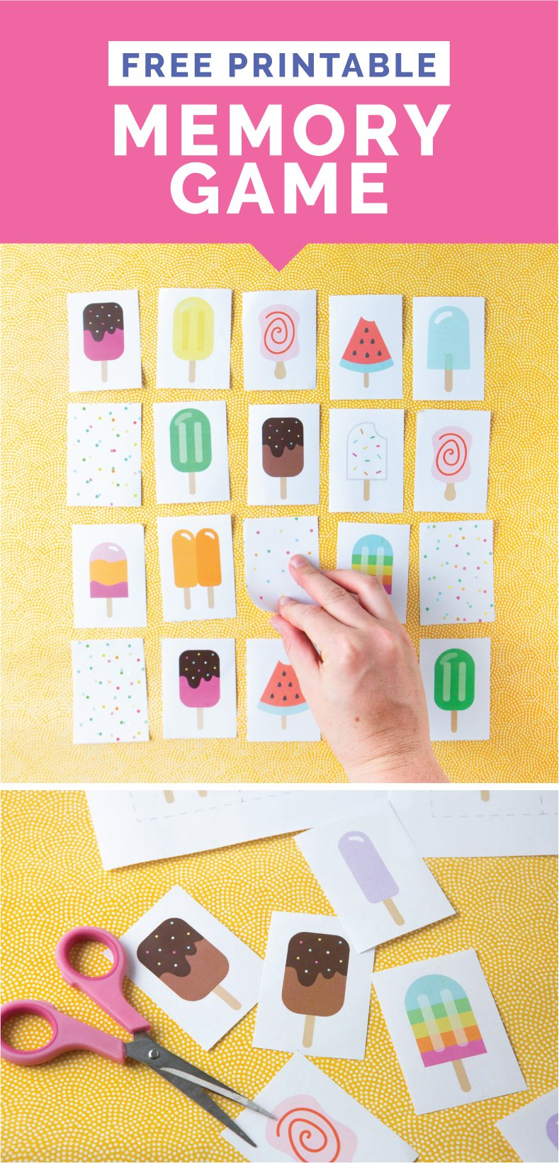 Download this FREE popsicle-themed Printable Memory Game for Kids! Great for kids and students ages 3-12! #freeprintable #games #memorygame #homeschooling