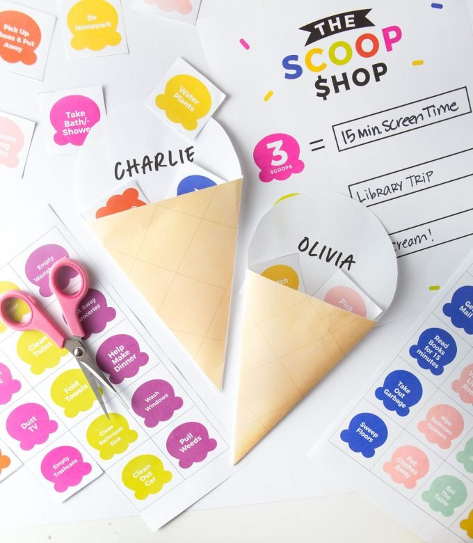 Printable ice cream shaped chore chard with colorful ice cream scoops as the chore tokens