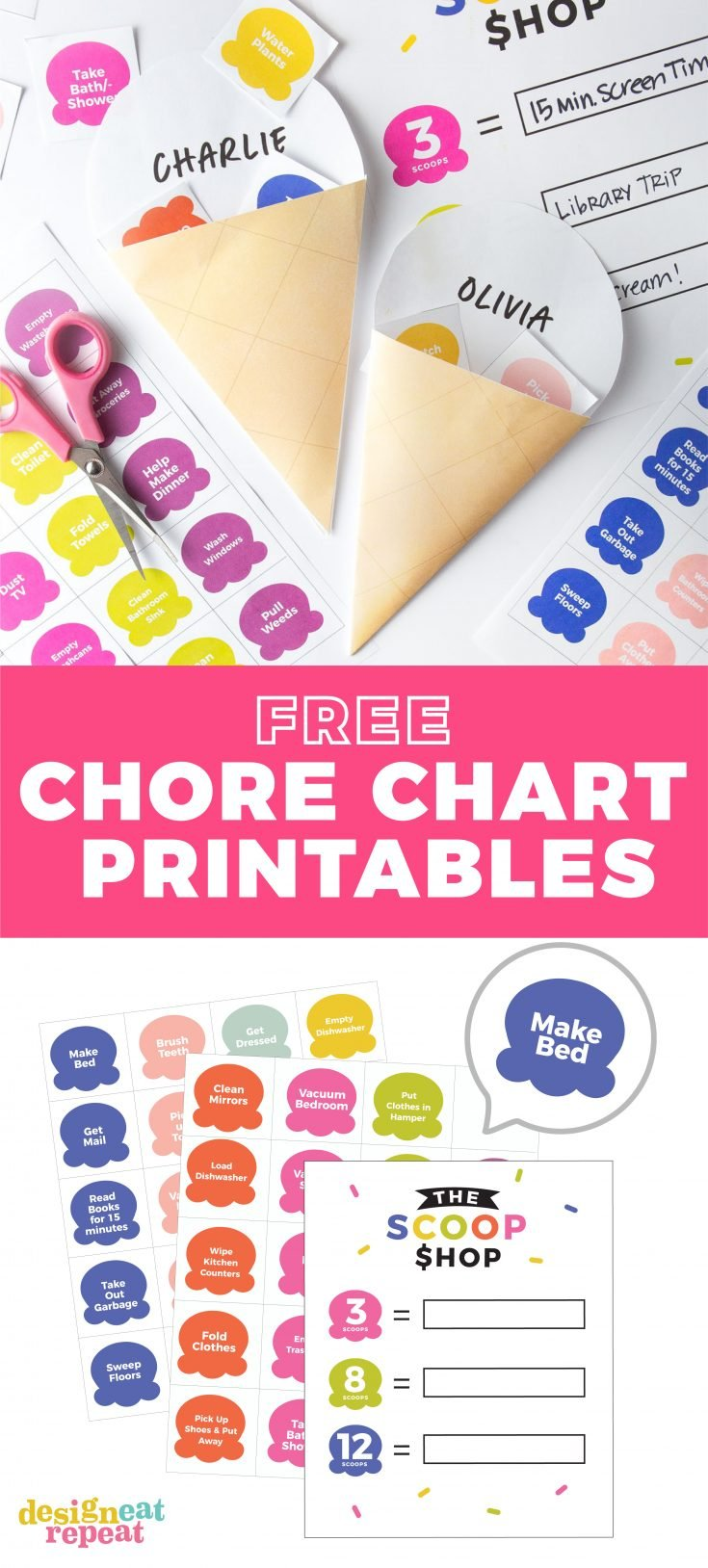 Looking for a fun & interactive way to motivate your kids to do their chores? Print off this FREE Printable Chore Chart for Kids on your home printer and let them add the ice cream scoops to their cone after each completed chore!