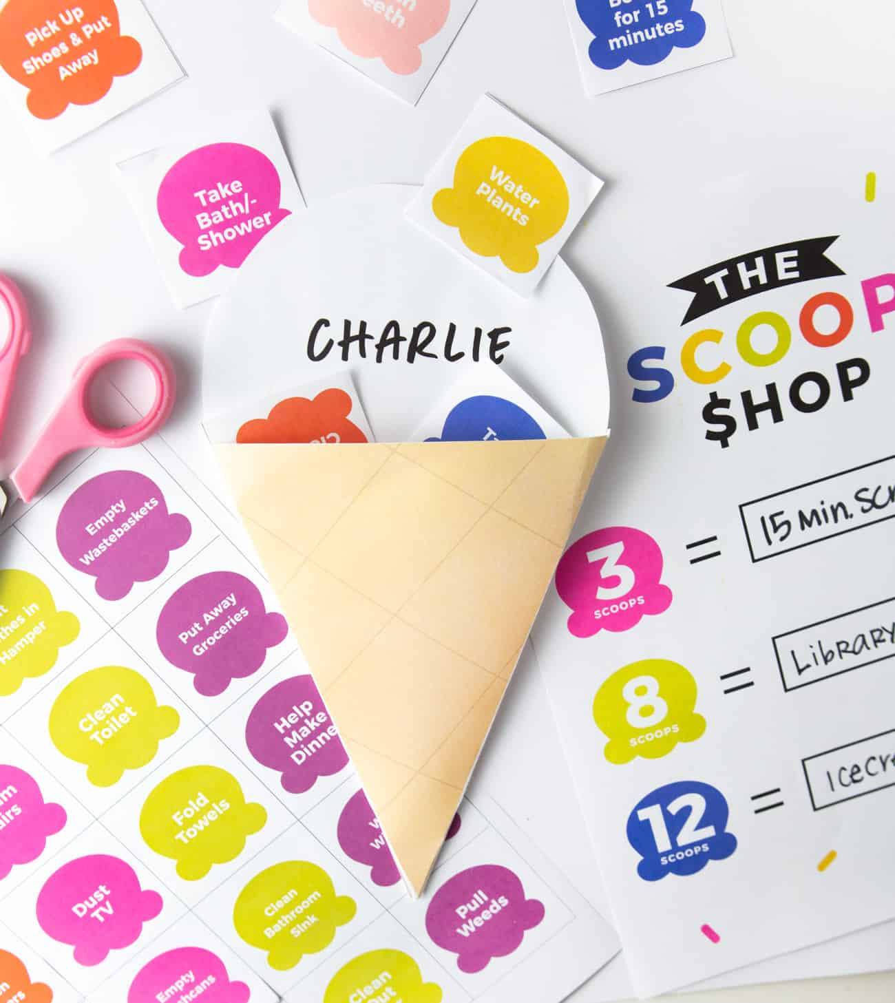 Ice Cream Printable Chore Chart with Kid's Name and Scoops inside
