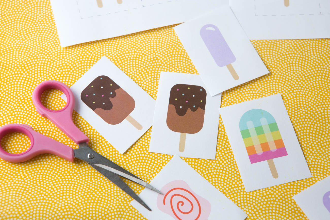 Pink scissors cutting popsicle printable memory cards