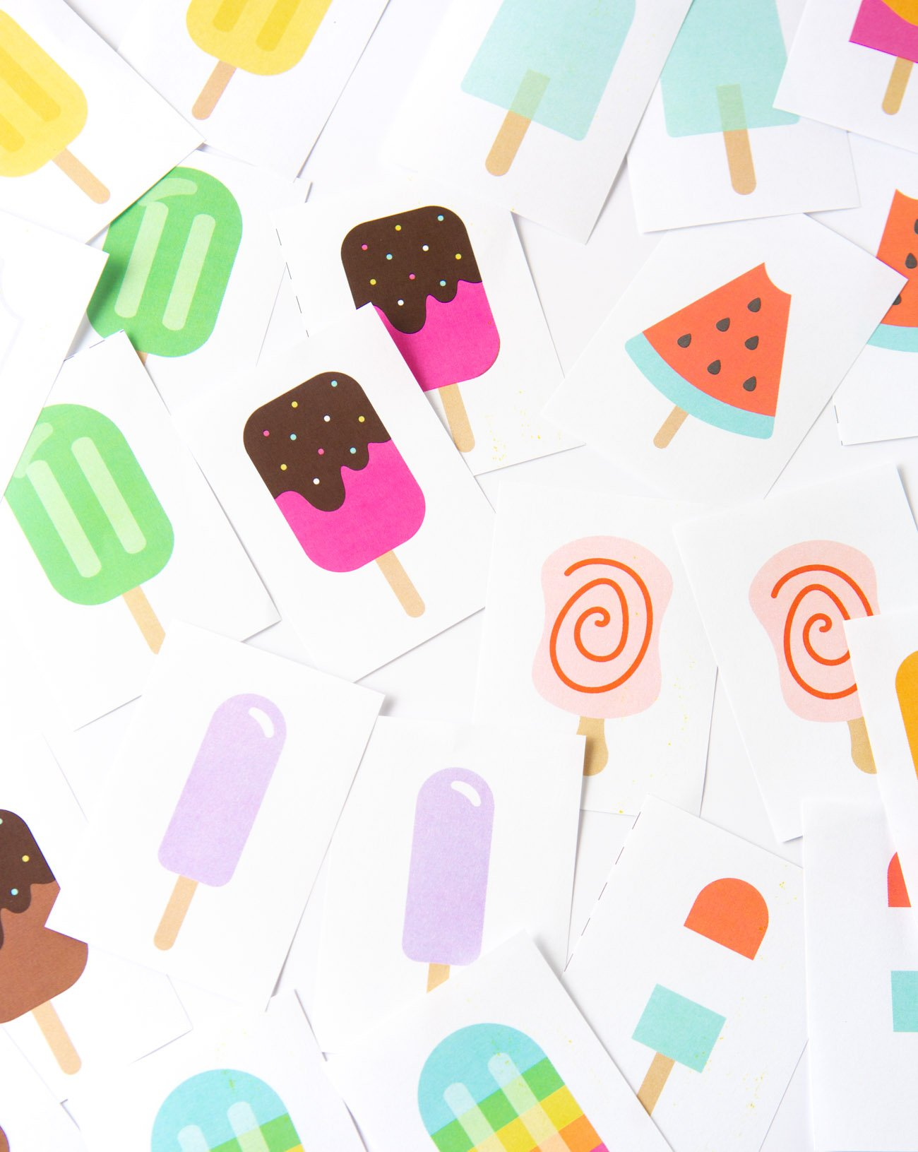 Messy arrangement of popsicle printable memory cards