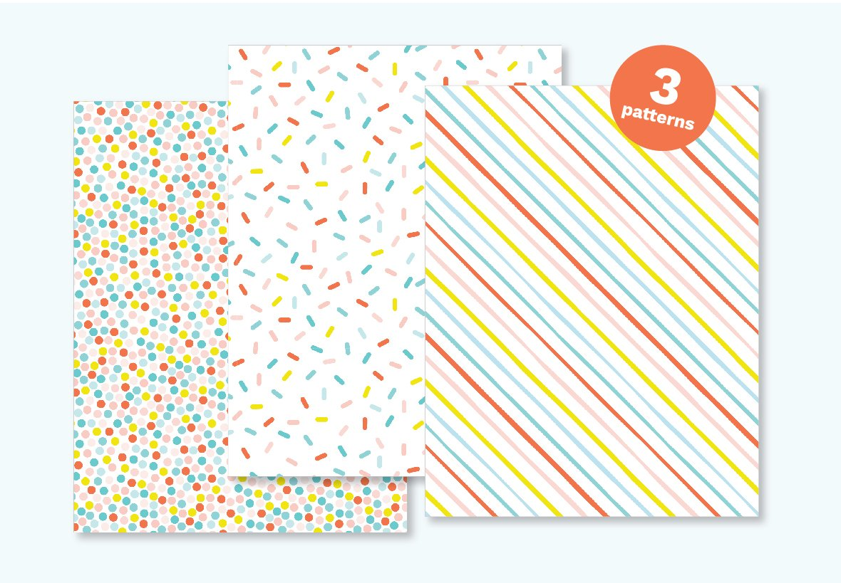 Free printable birthday wrapping paper gift box with blue yay tag and pink pom pom. Patterns include rainbow polka dot, rainbow sprinkle, and rainbow stripe.