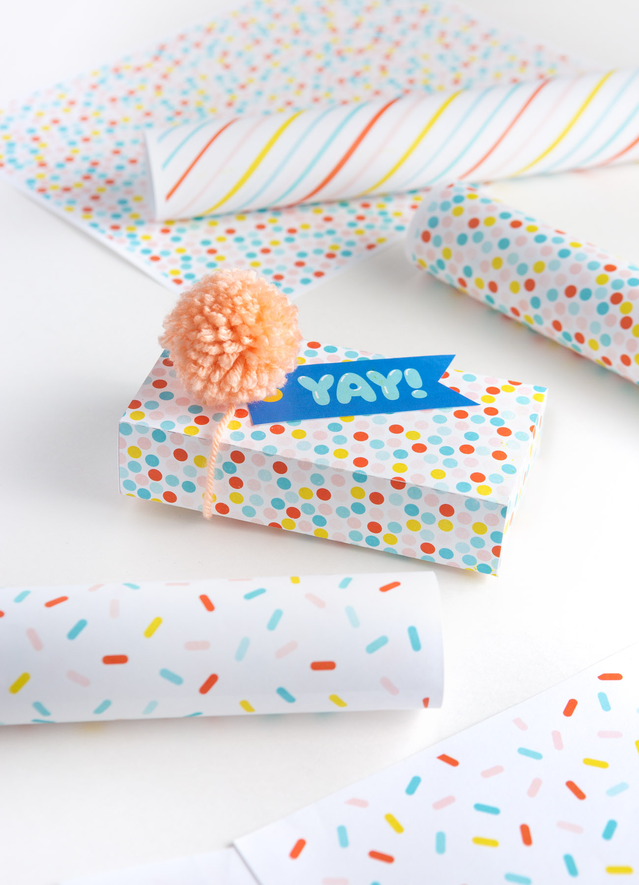 YAY printable happy birthday tag on colorful polka dot gift box