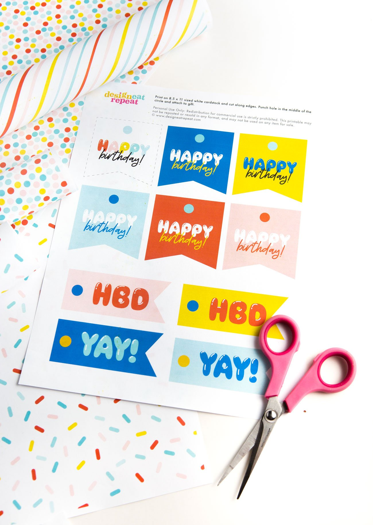 Sheet of Colorful Free Printable Happy Birthday Tags