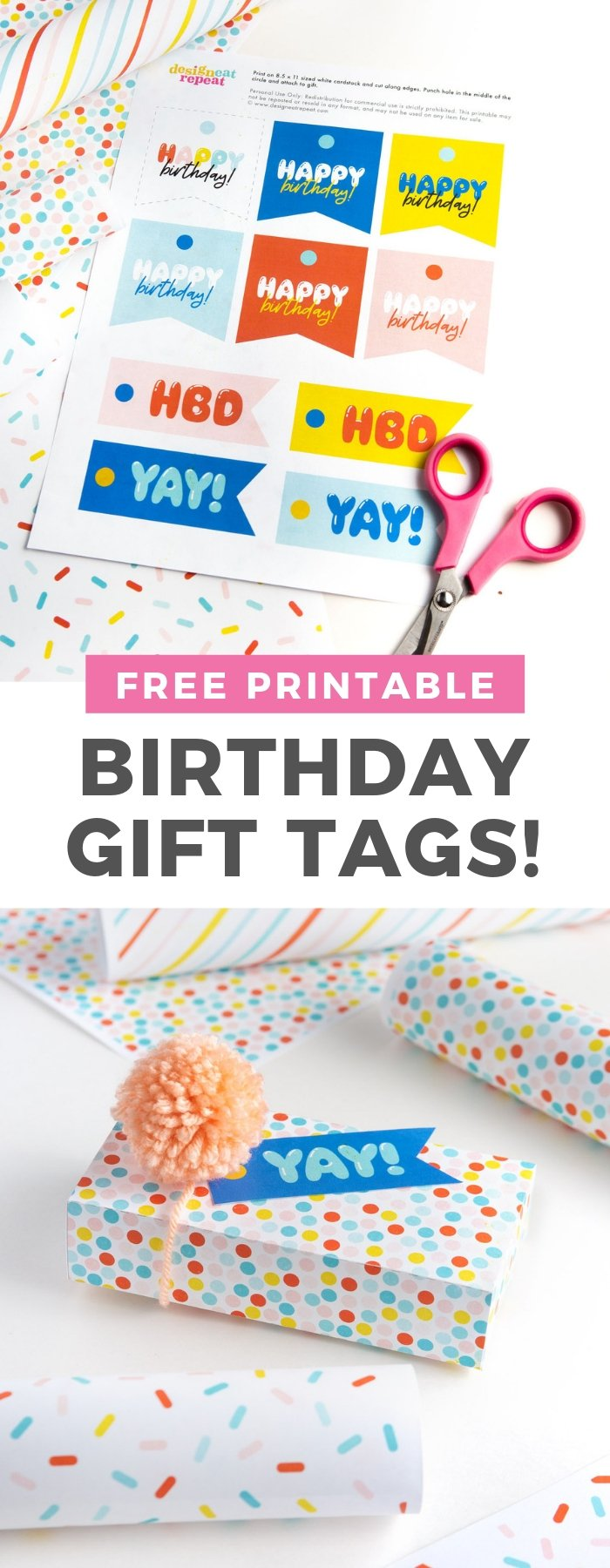Skip the store and print out these Happy Birthday tags at home...for free! Download and print custom gift tags when you need it with this free pdf! #printable #birthdaypartyideas #gifttags