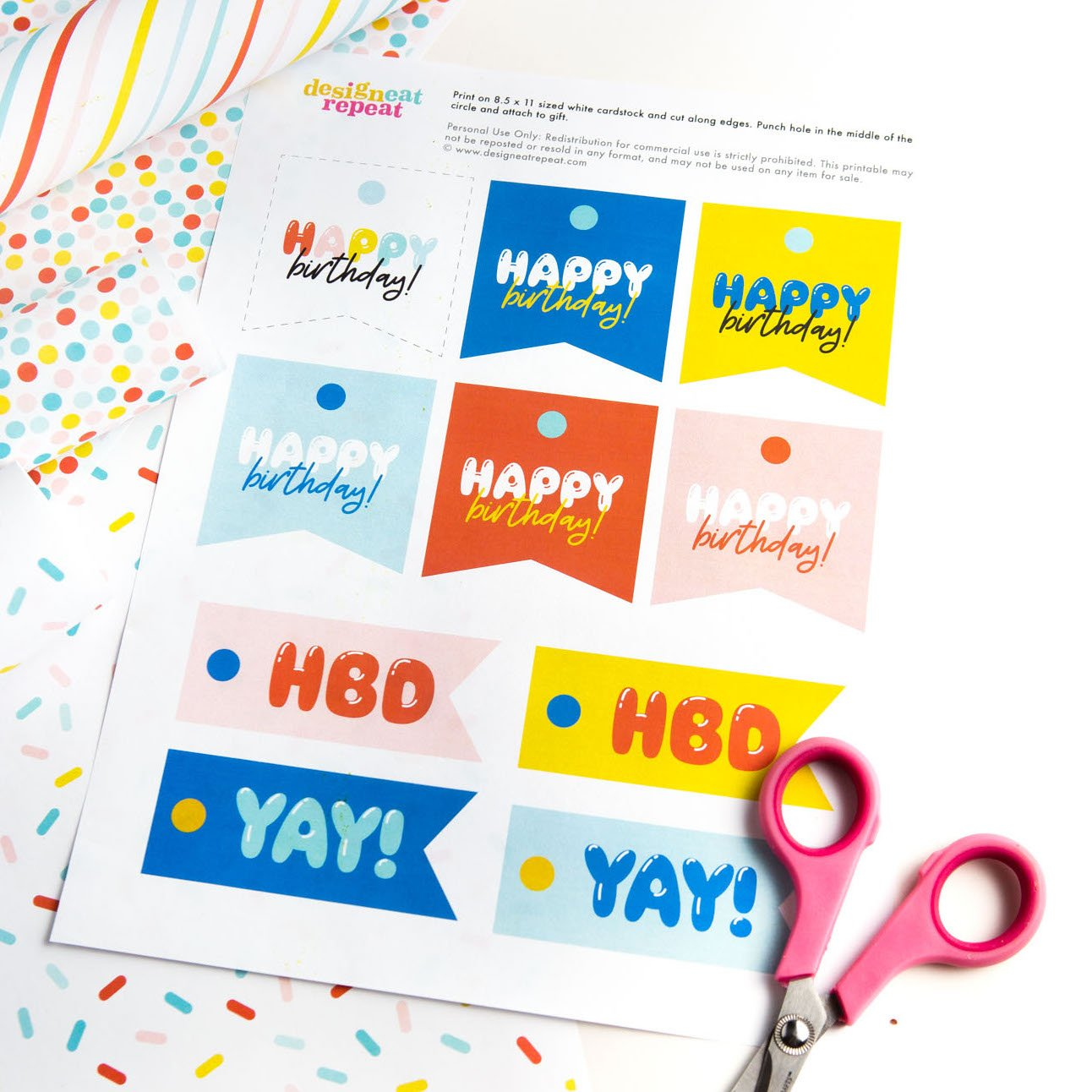graphic relating to Free Printable Birthday Tag identified as No cost Printable Joyful Birthday Tags - Layout Try to eat Repeat