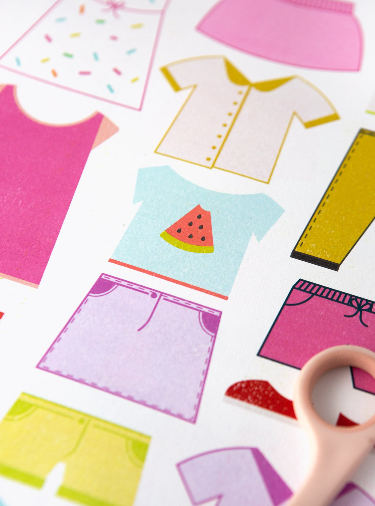 Watermelon Shirt Printable Paper Dolls, Clothes, and Accessories