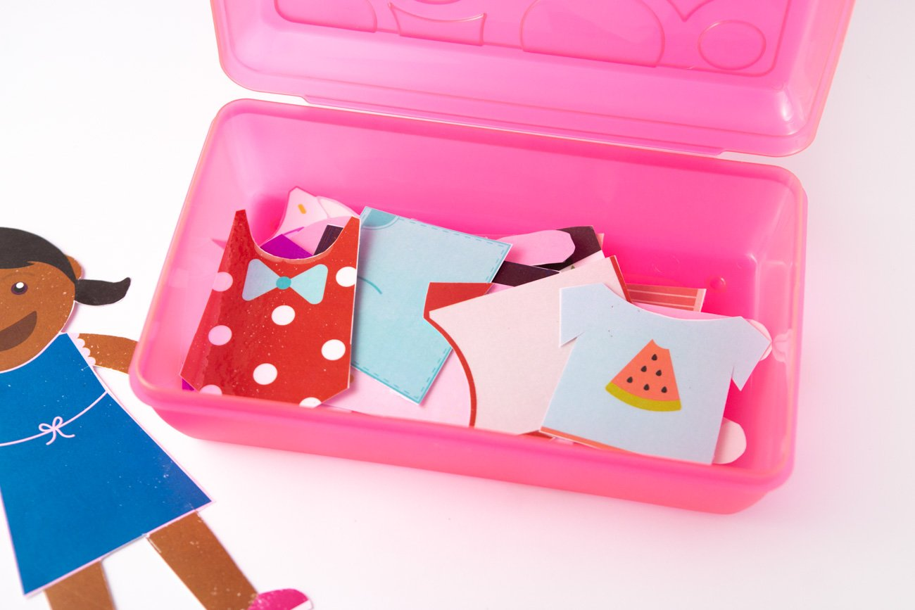 How to store printable paper dolls in pencil case