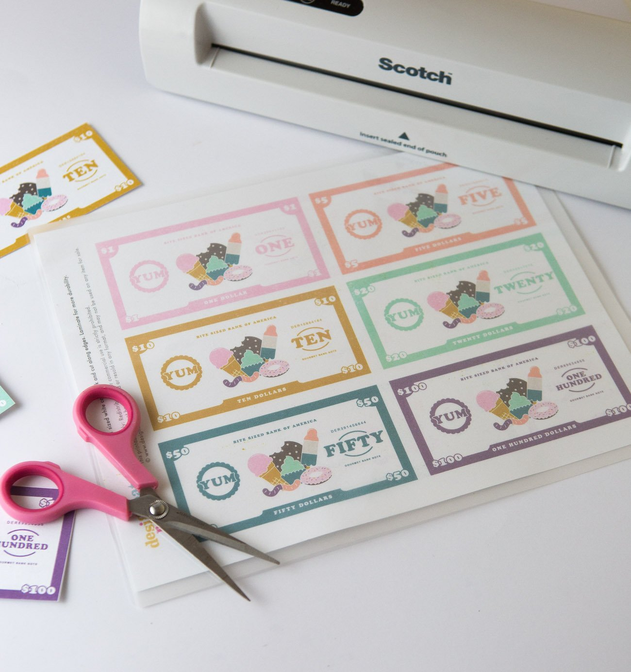 Laminate dessert themed free printable play money for kids, $1, $5, $10, $20, $50, $100