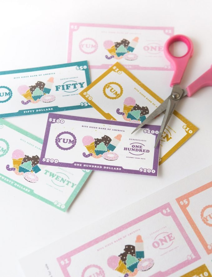 Assortment of colorful printable dessert-themed play money