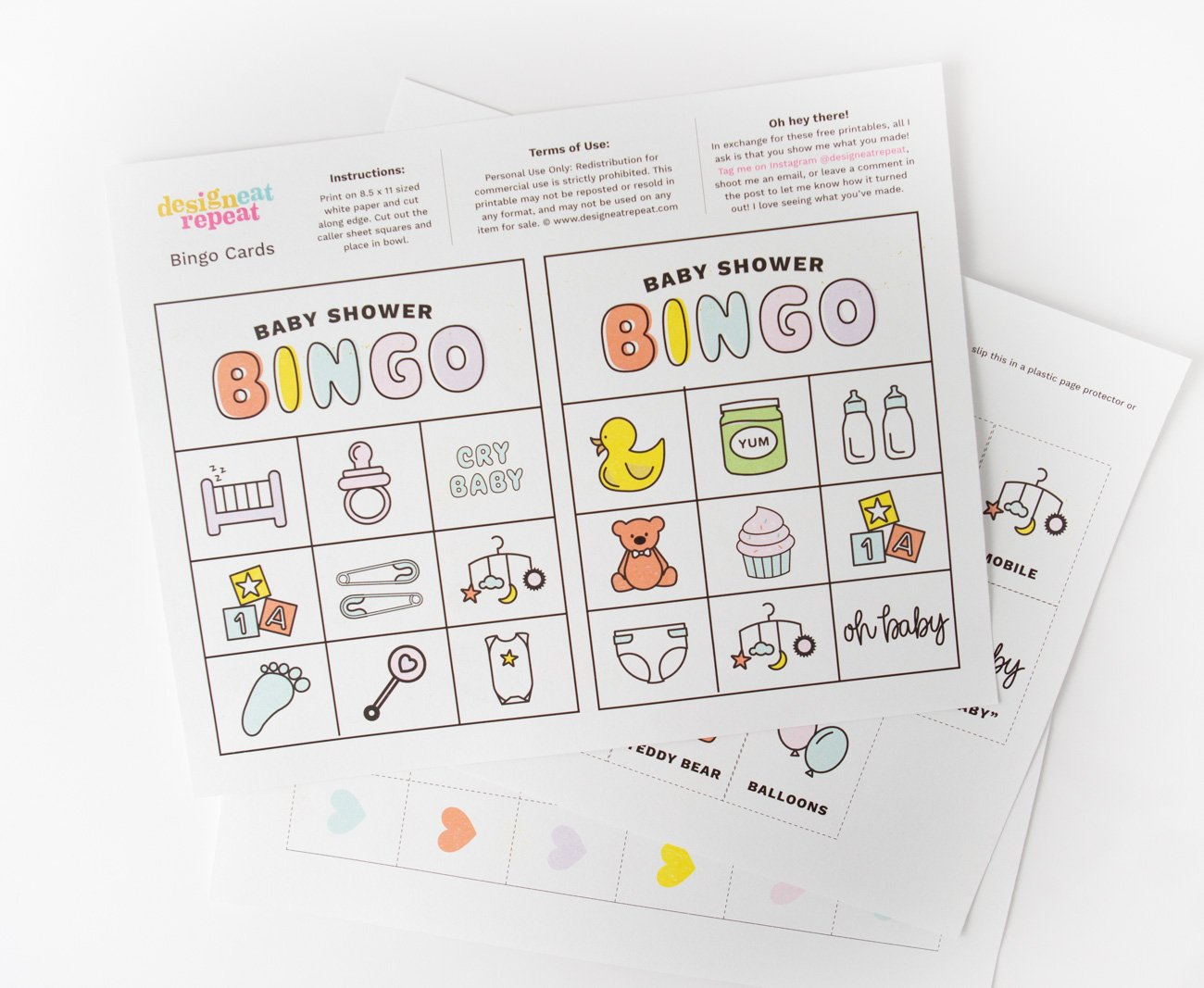 Printed sheet of baby shower bingo cardsa