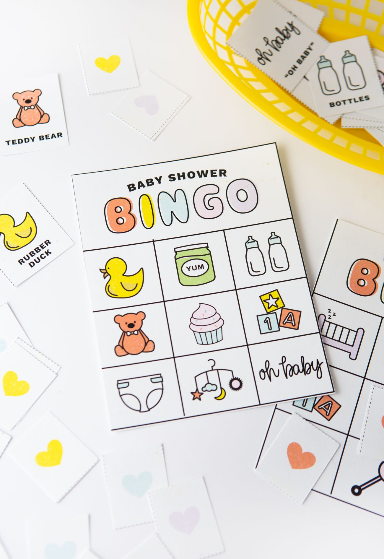 image relating to Printable Baby Shower Bingo referred to as Totally free Printable Child Shower Bingo - Style and design Consume Repeat