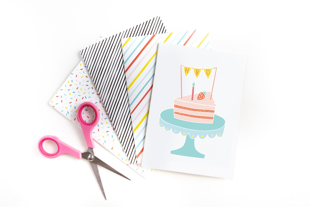 4 printable birthday cards with pink scissors