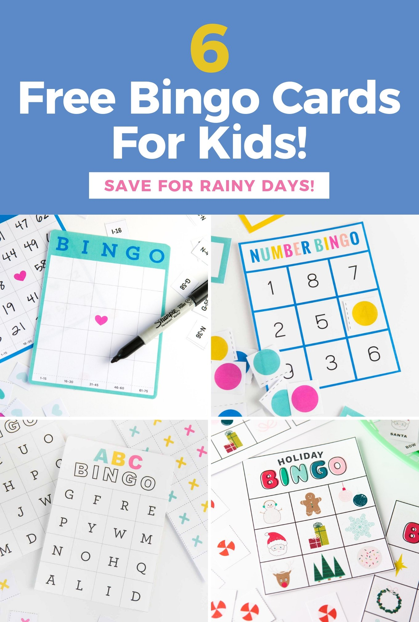 6 Free Bingo Cards for Kids