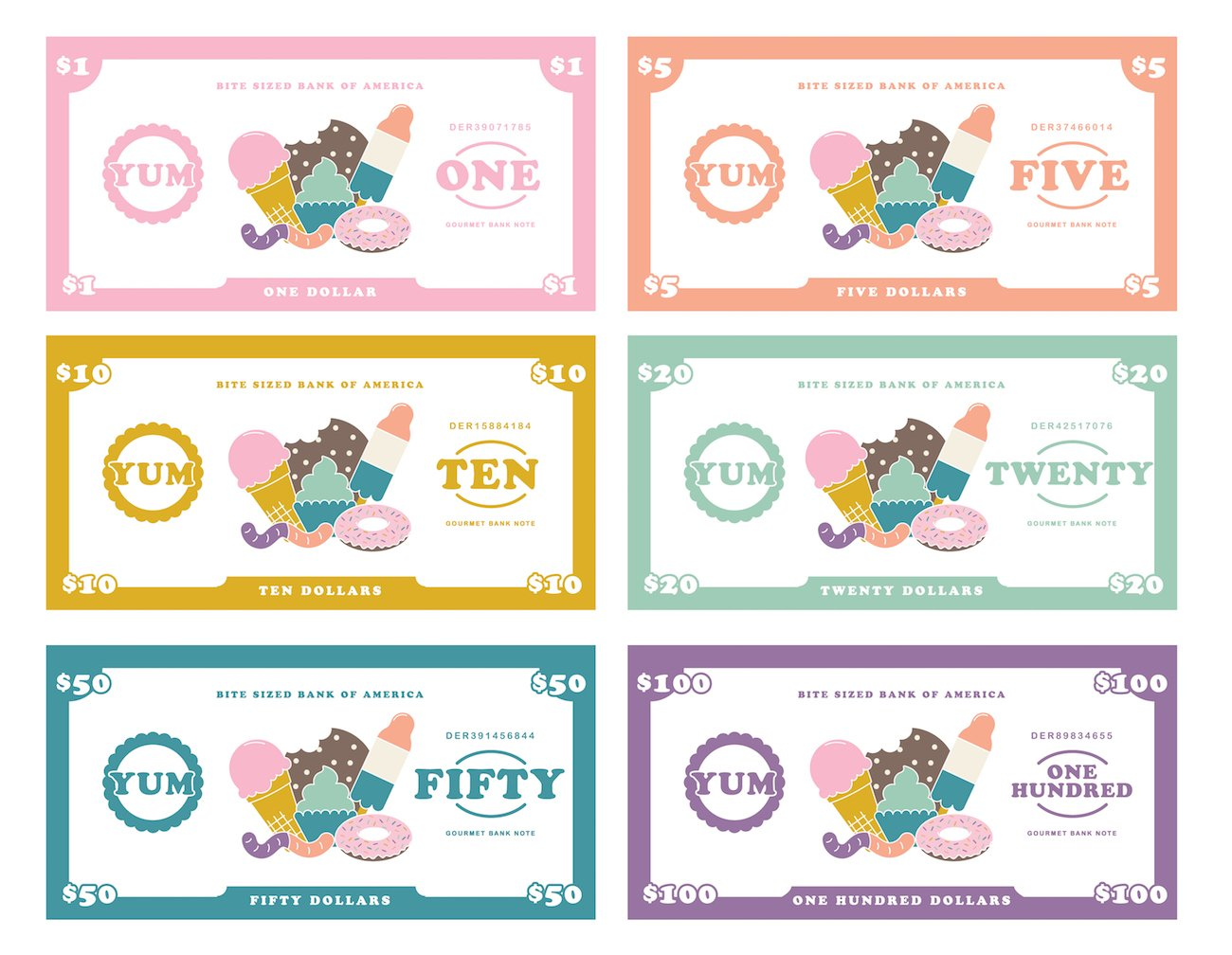 Dessert themed free printable play money for kids, $1, $5, $10, $20, $50, $100