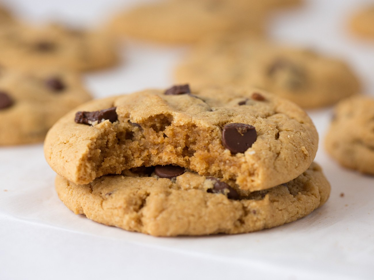 Chewy and Soft Gluten Free Peanut Butter Chocolate Chip Cookies