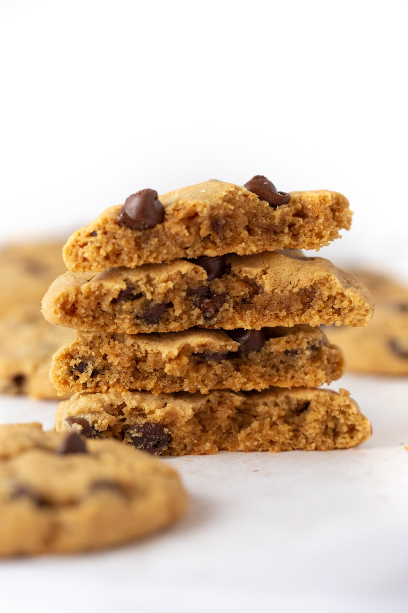 Stack of Chewy and Soft Gluten Free Peanut Butter Chocolate Chip Cookies