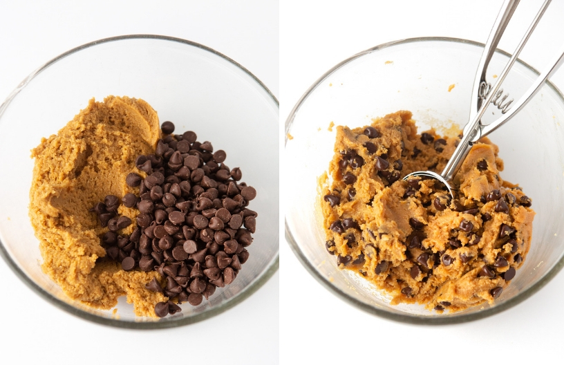 Mixing bowl of cookie dough and chocolate chips for Chewy and Soft Gluten Free Peanut Butter Chocolate Chip Cookies