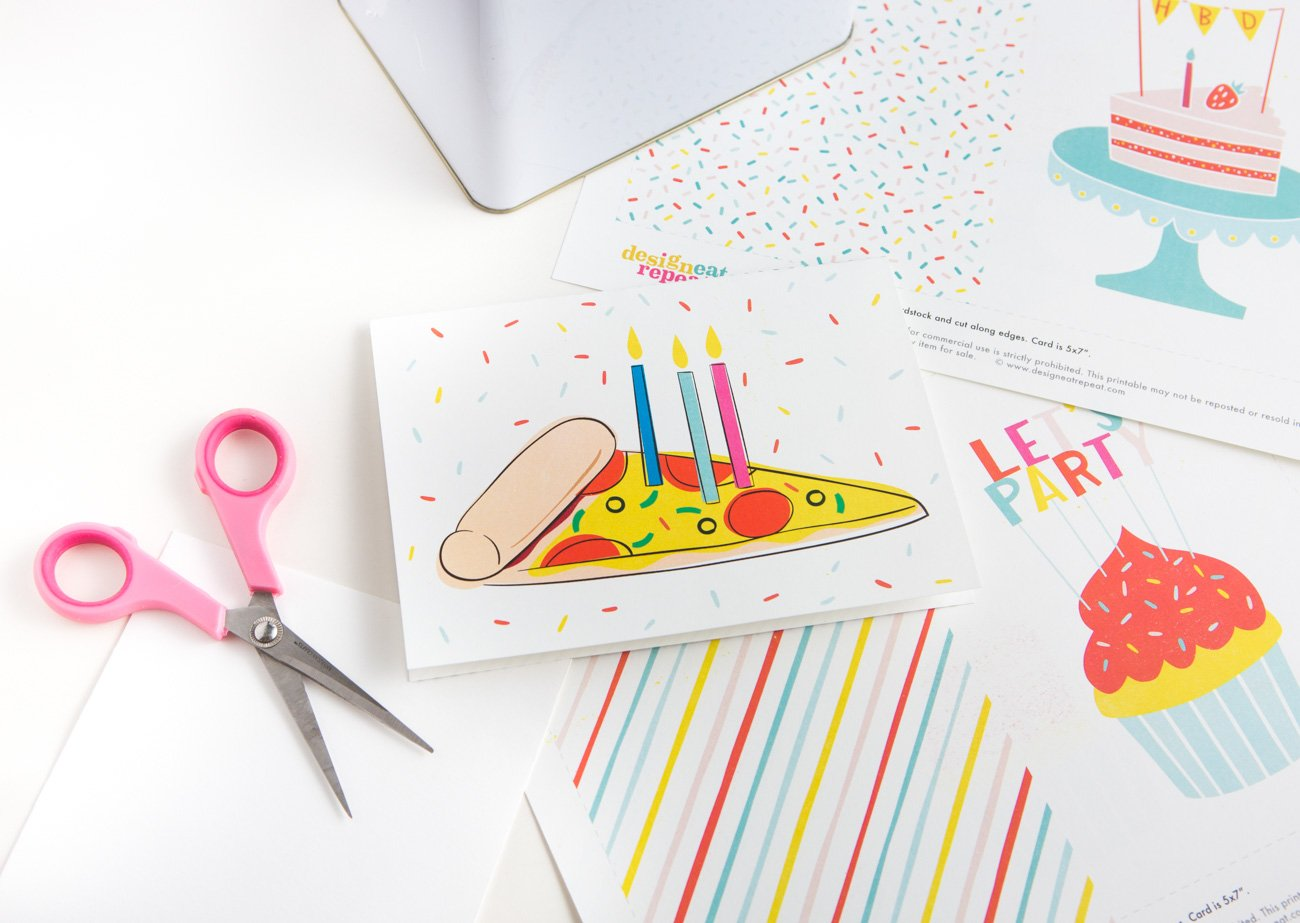 Colorful Pizza Printable Birthday Card with Candles and Sprinkles
