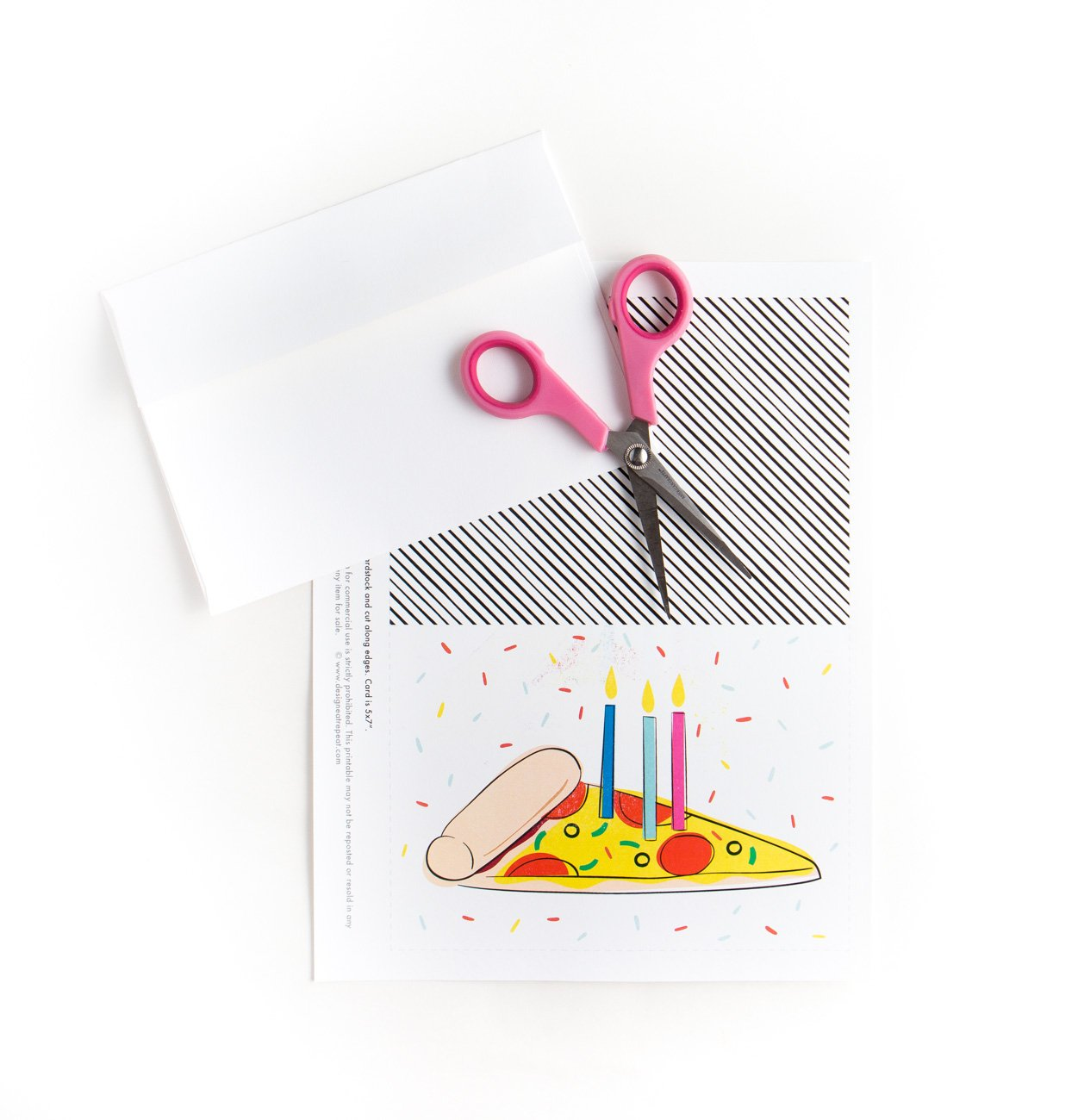 Printable birthday card with scissors. Colorful Pizza Printable Birthday Card with Candles and Sprinkles